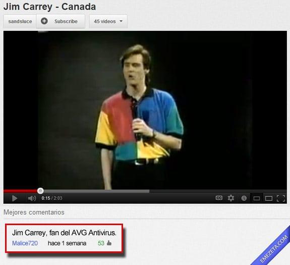 Los mejores comentarios de youtube: Jim carrey avg antivirus
