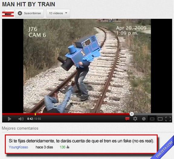 Los mejores comentarios de youtube: Tren fake