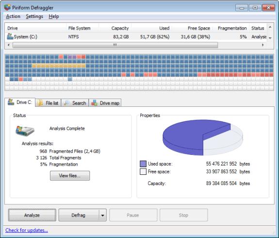 Piriform Defraggler: Defragmentador gratuito para Windows