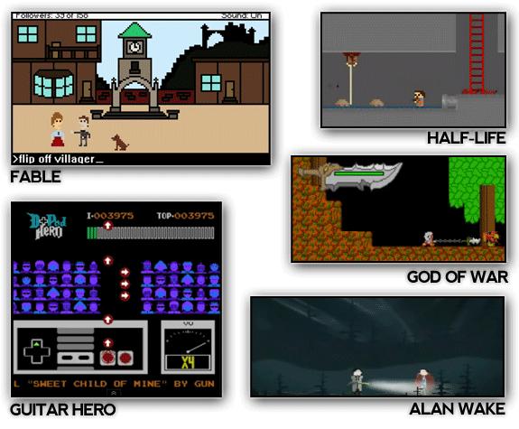 Demake: Re-edición de un juego con un estilo anterior o retro al juego original