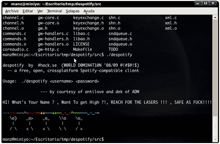 despotify spotify linux client native nativo