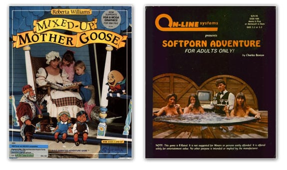 Portadas de los juegos Mother Goose y Softporn Adventure