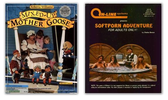 Portadas de los juegos Mother Goose y Softporn Adventure