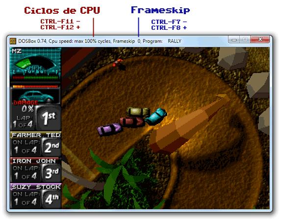Ajustar rendimiento en DOSBox: Cycles y Frameskip