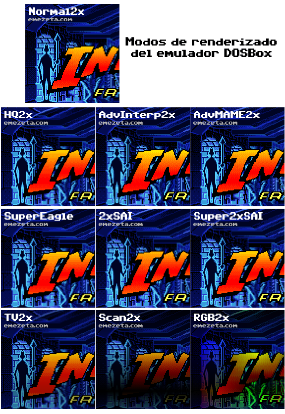 Modos de renderizado de DOSBox (interpolación)