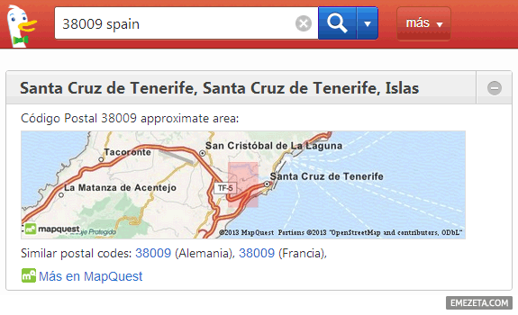 Código postal en Duck Duck Go: MapQuest
