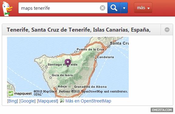 Servicios de mapas desde Duck Duck Go: Bing Maps, Google Maps, Mapquest Maps (OpenStreetMap)