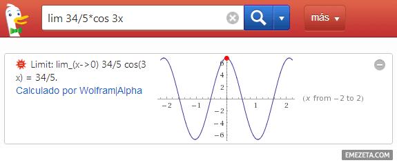 Matemáticas en el buscador Duck Duck Go (utilizando Wolfram Alpha)