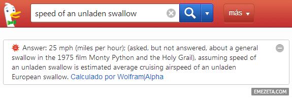 Preguntas de WolframAlpha en Duck Duck Go