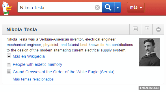 Información de la Wikipedia mediante Duck Duck Go
