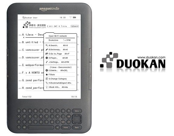 Duokan, sistema operativo alternativo para los lectores de PDF de Amazon, Kindle.
