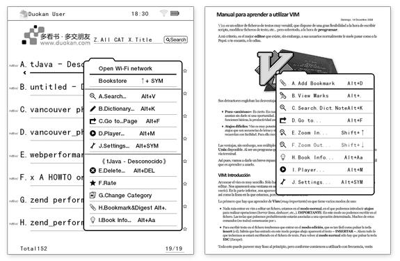 Menús contextuales del sistema operativo alternativo para Kindle, Duokan