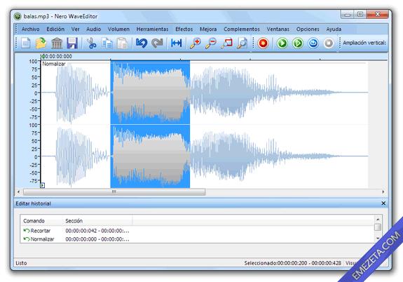 Editores de sonido gratis: Nero WAVE Editor