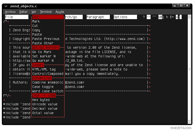 Editores de texto basados en terminal: Mined