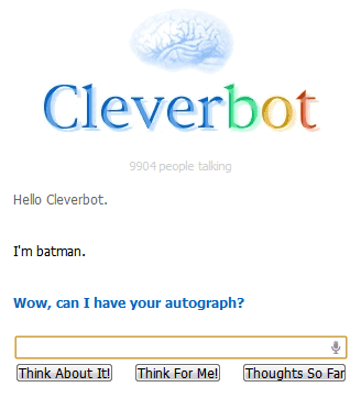 Cleverbot, un robot clon de Eliza ampliado con redes neuronales