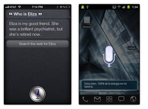 Siri, en iPhone de Apple y Jeannie, en Android de Google