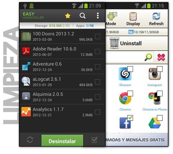 Aplicaciones para desinstalar apps de Android por lotes (masivamente)