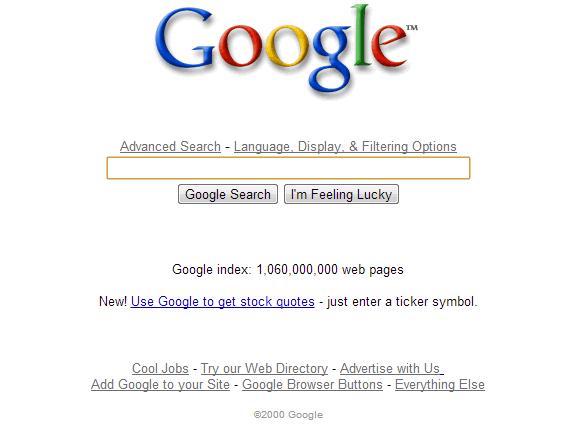 La evolución de Google: Google 2000