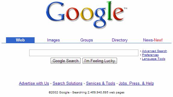 La evolución de Google: Google 2002