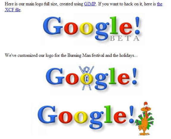 La evolución de Google: Google stickers 1999