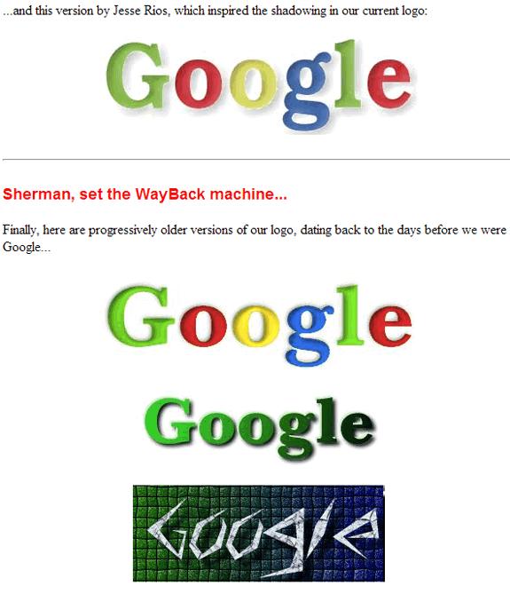 La evolución de Google: Google stickers 1999 2