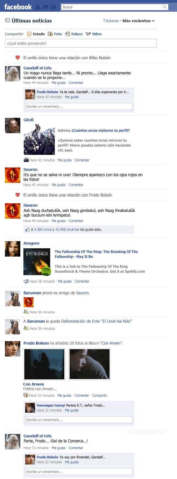 El Facebook del Señor de los Anillos: parte 1