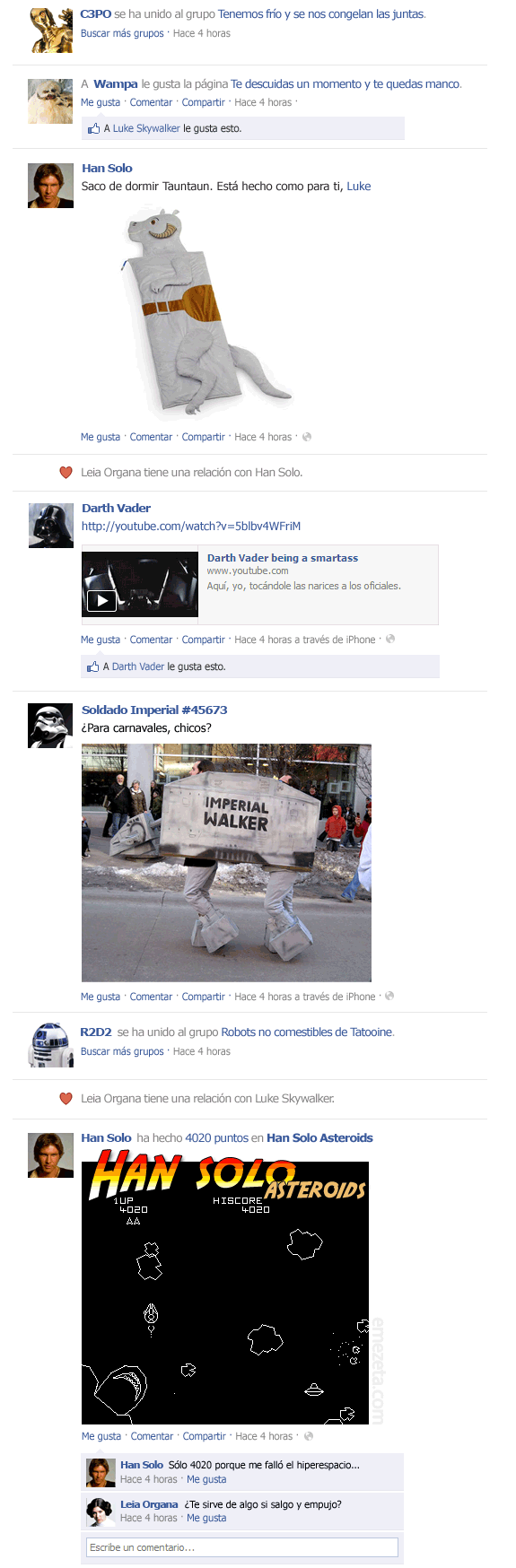 El Facebook de Star Wars: Episodio V (1)