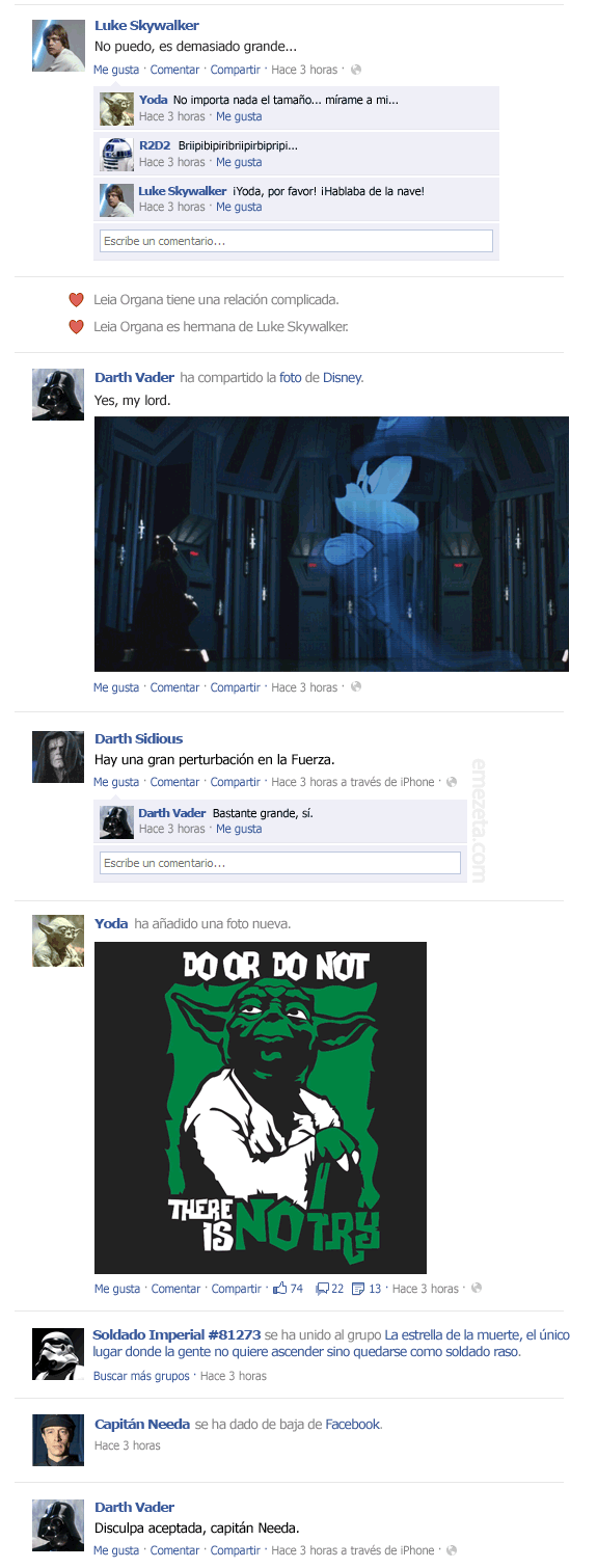 El Facebook de Star Wars: Episodio V (2)