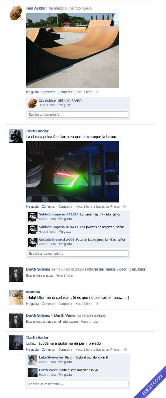 El Facebook de Star Wars: Episodio VI (2)