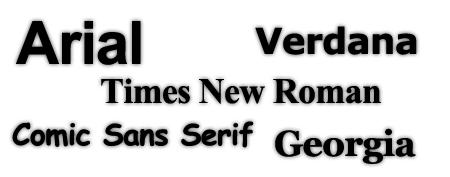 familias arial verdana tahoma comic sans serif fuentes tipografias