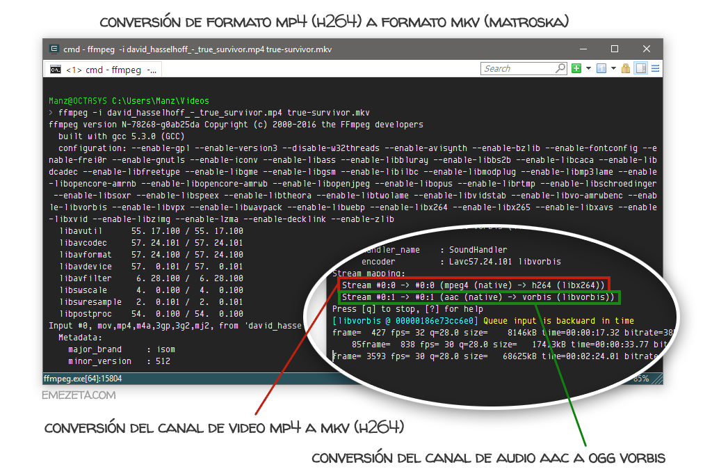 Convertir entre formatos de video con ffmpeg
