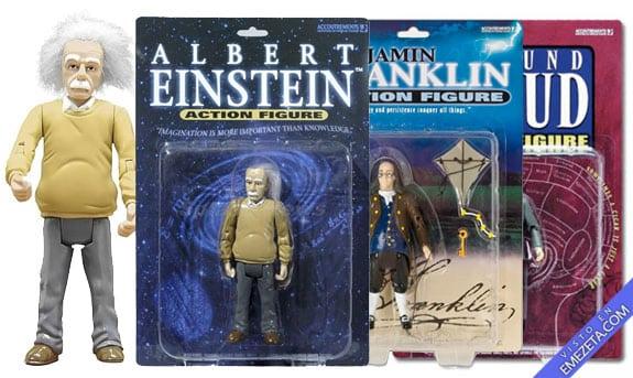 Figuras de acción: Albert Einstein, Benjamin Franklin y Sigmund Freud