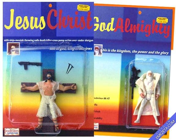 Figuras de acción: Jesucristo y Dios todopoderoso con AK-47