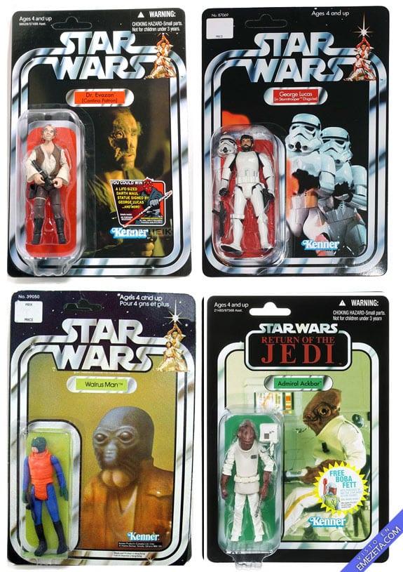 Figuras de acción de Starwars: Dr Evazan, Ponda Baba, Almirante Akbar y George Lucas