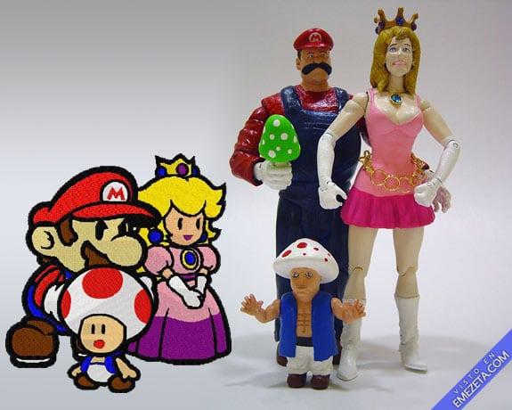 Figuras de acción: Super Mario, Peach y Toad