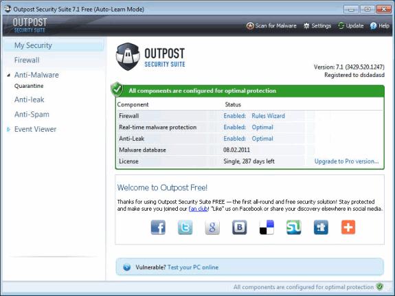 Firewalls o cortafuegos gratuitos: Agnitum Outpost Free
