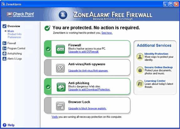 Firewalls o cortafuegos gratuitos: ZoneAlarm Free