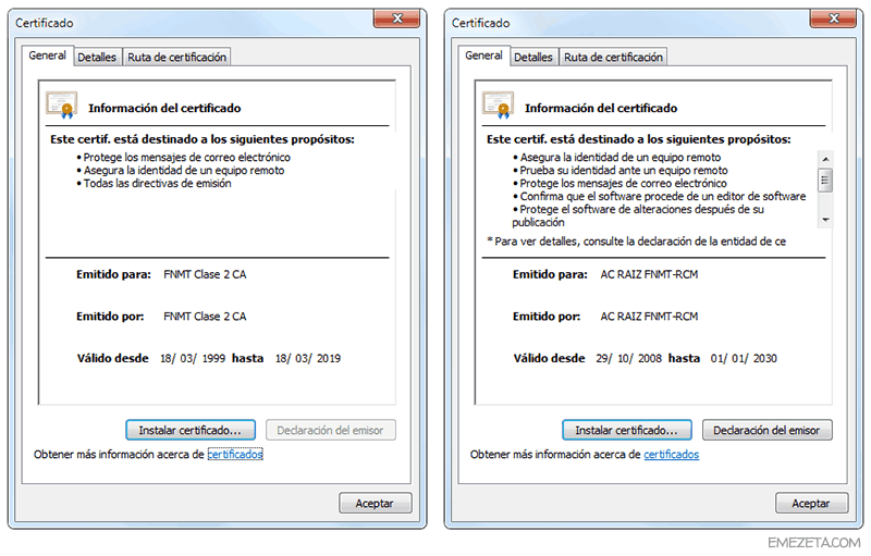 Instalar en el sistema los certificados digitales de la FNMT