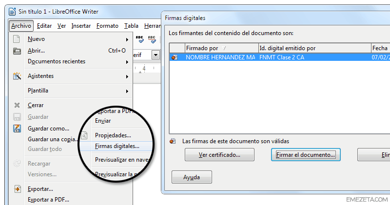 Programas gratis para firmar documentos de Word: LibreOffice Writer