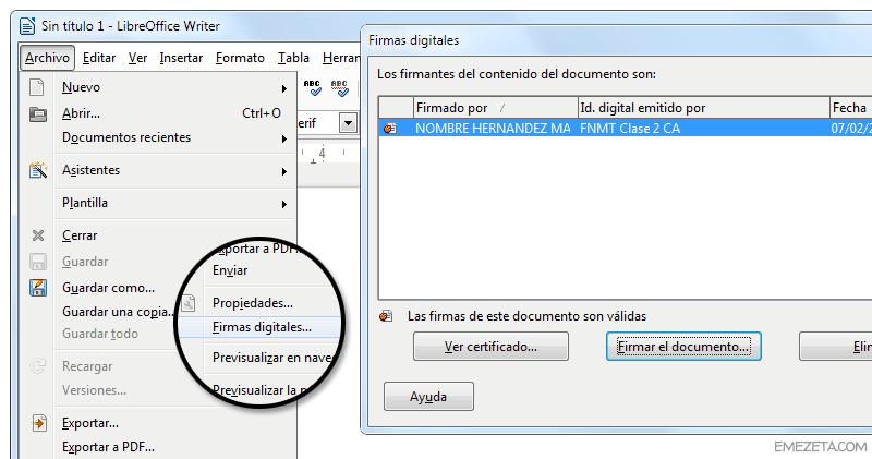 Programas gratis para firmar documentos de Word: LibreOffice Writer