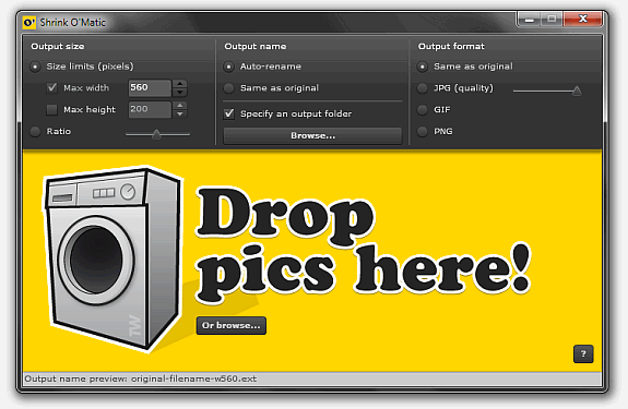 Shrink-o-matic: Aplicación Adobe Air para reducir el tamaño de los ficheros PNG, GIF y JPEG.