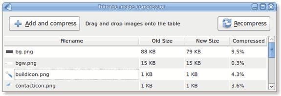 Trimage: Aplicación para linux que permite comprimir imágenes PNG y JPEG para reducir su tamaño.