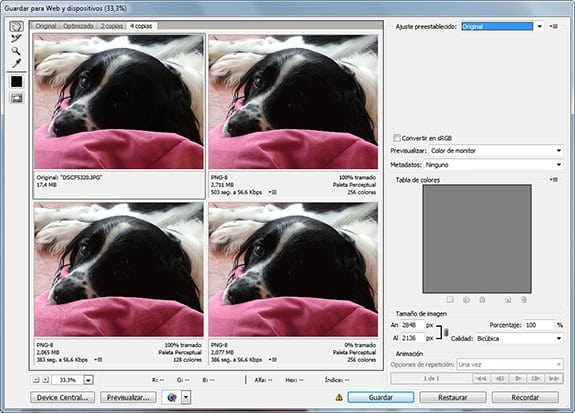 Optimizar imágenes: Adobe Photoshop Save for Web.