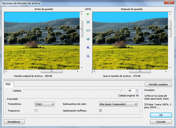 Optimizar imágenes: FastStone Image Viewer.