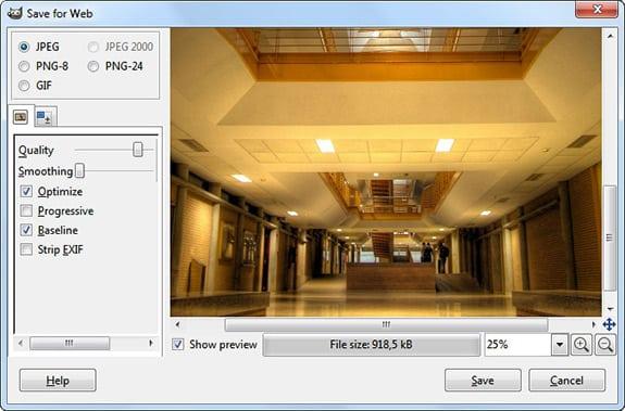Optimizar imágenes: GIMP: Save for web.