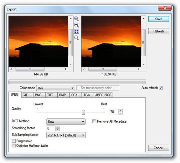 Optimizar imágenes: XnView (Export).