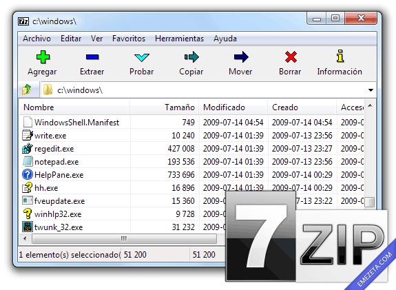 7zip, compresor de código abierto que permite comprimir en formato 7z entre otros