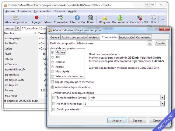 FreeARC, compresor de alto rendimiento que comprime en un nuevo formato ARC
