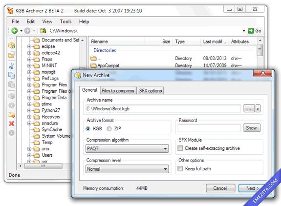 Guía compresores y formatos de compresión: Kgb Archiver