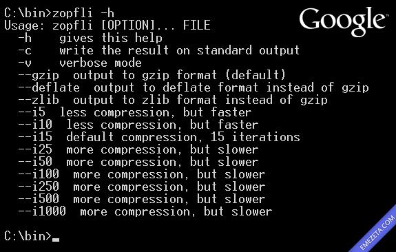 Zopfli, mejora de Google compatible con los algoritmos de compresión gzip, deflate y zlib